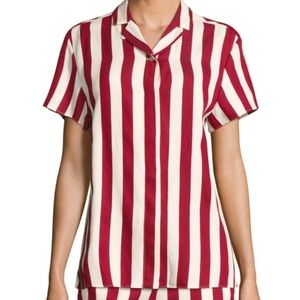 RED Valentino Stripe Cotton Camp Shirt Size 40 / 8